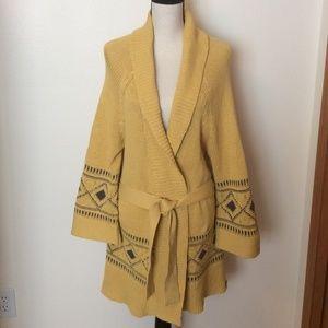 Roxy Aztec Print Wrap Knit Cardigan W/Tie Sz-L